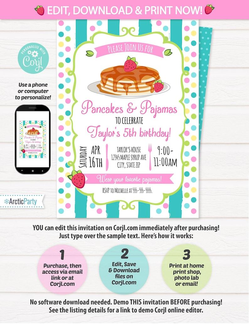 Pancakes Pajamas Invitation