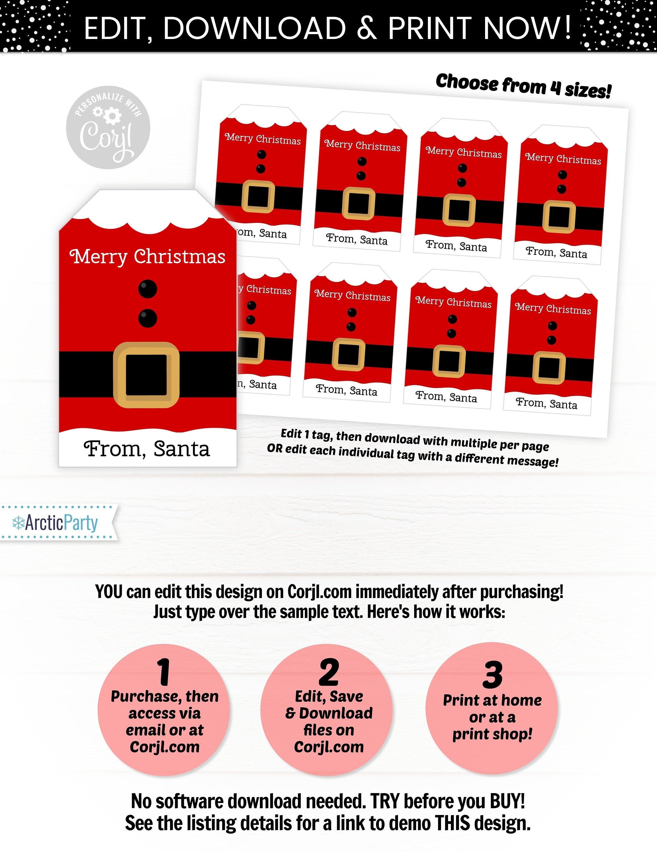 santa gift tags christmas gift tags santa favor tags santa
