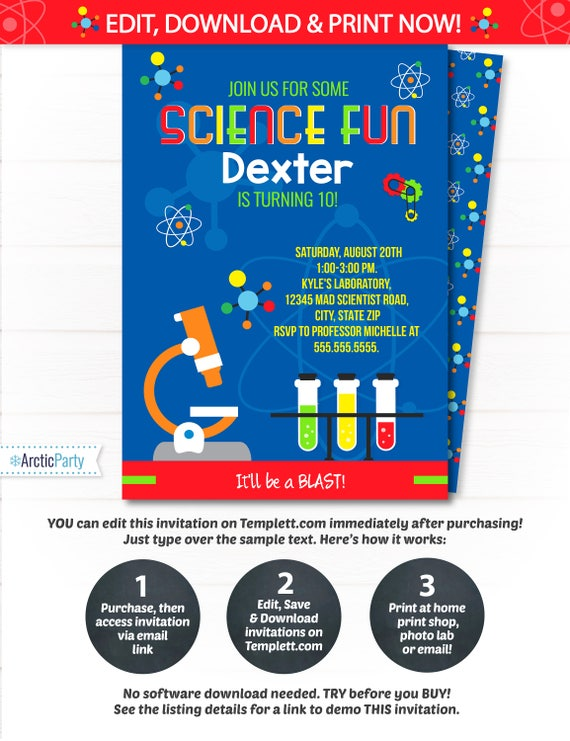 science party invitation science birthday invitation mad etsy