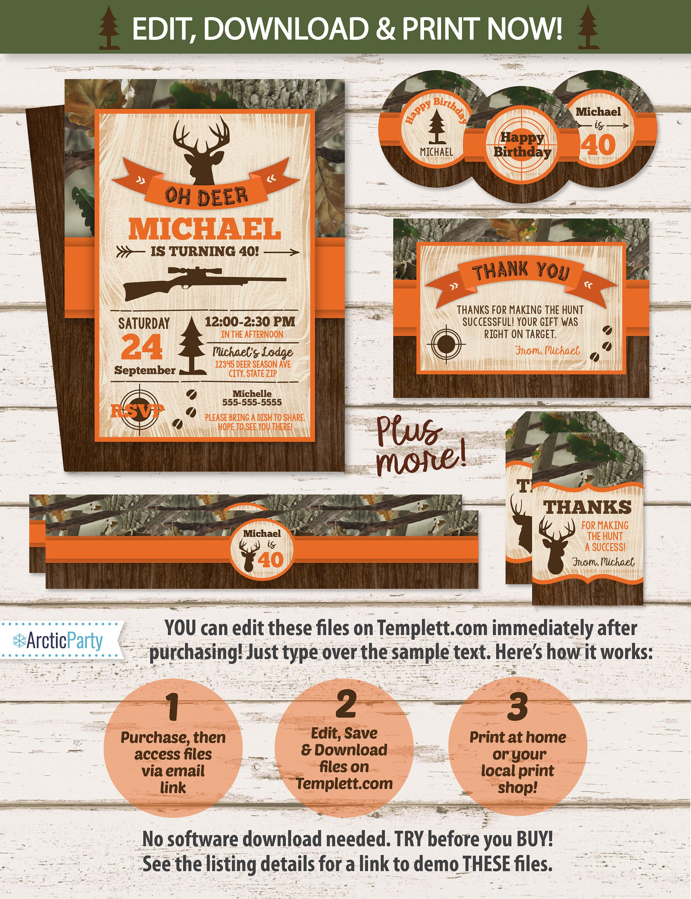 Hunting Birthday Invitations Theme Party