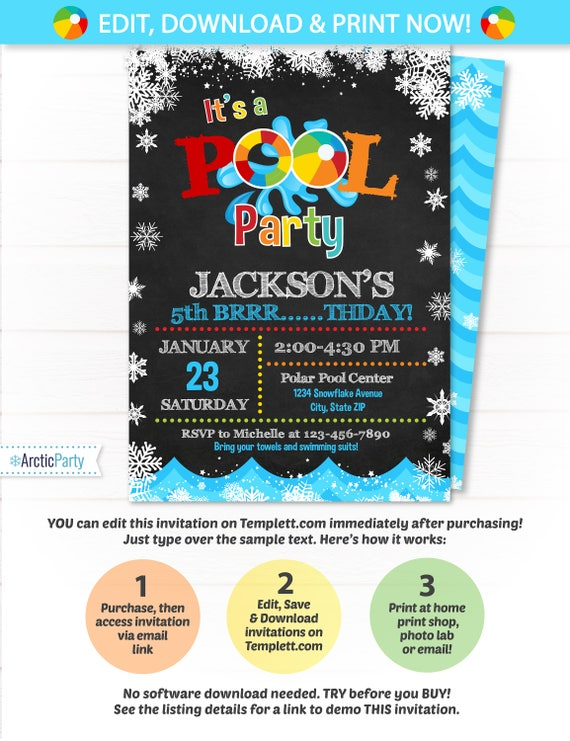 Pool Party Invitation Swimming Pool Birthday Party Winter Etsy