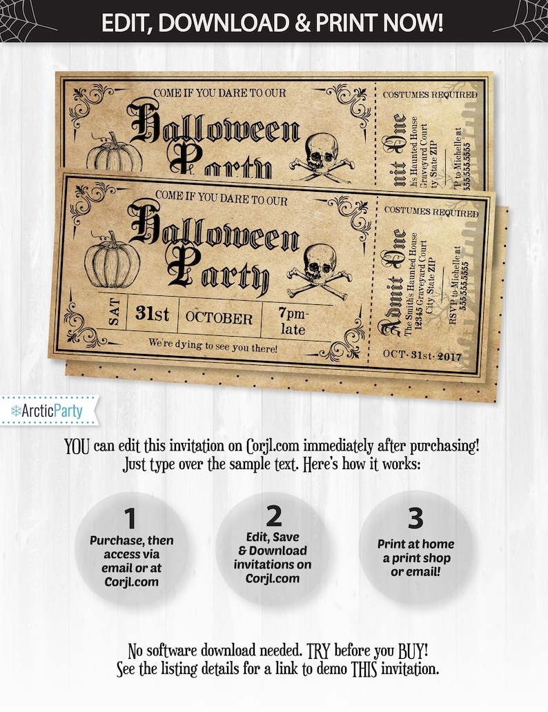 Halloween Invitations Halloween Ticket Invitations Halloween image 0