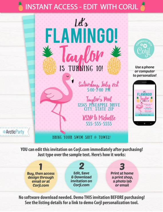 Flamingo Birthday Party Invitation - Flamingo Party Invitation - Flamingo Themed Birthday Party Ideas  - INSTANT ACCESS - Edit NOW!