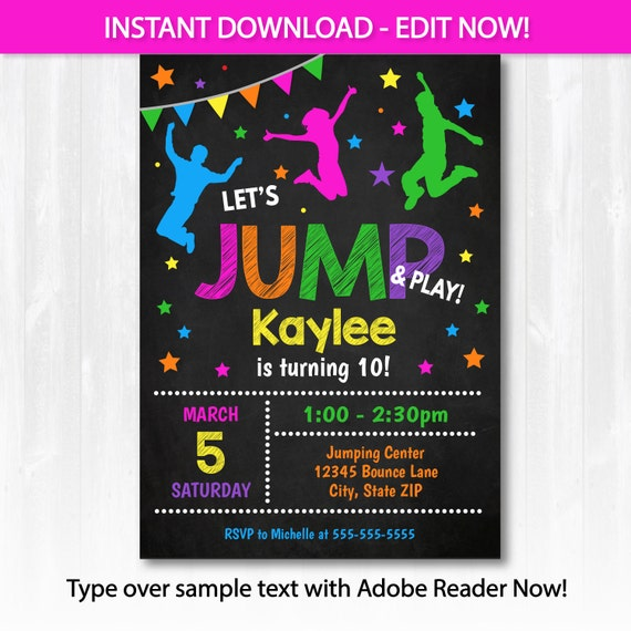 Jump Invitation - Bounce House Birthday Invitation - Jump Party Invitation - Pink- INSTANT DOWNLOAD! Edit at home NOW! Bounce Birthday Party