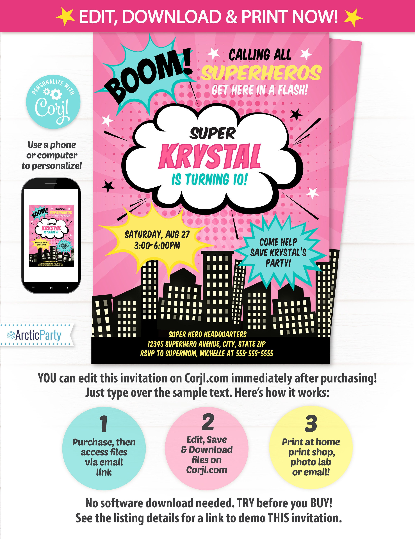 girl superhero party invitations superhero invitations superhero