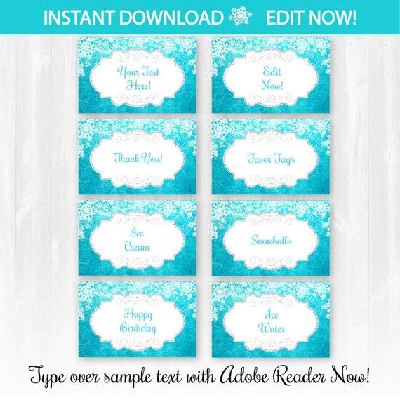 Frozen Food Labels Instantly Downloadable And Editable File Personalize At Home With Adobe Reader Now Frozen Party Supplies