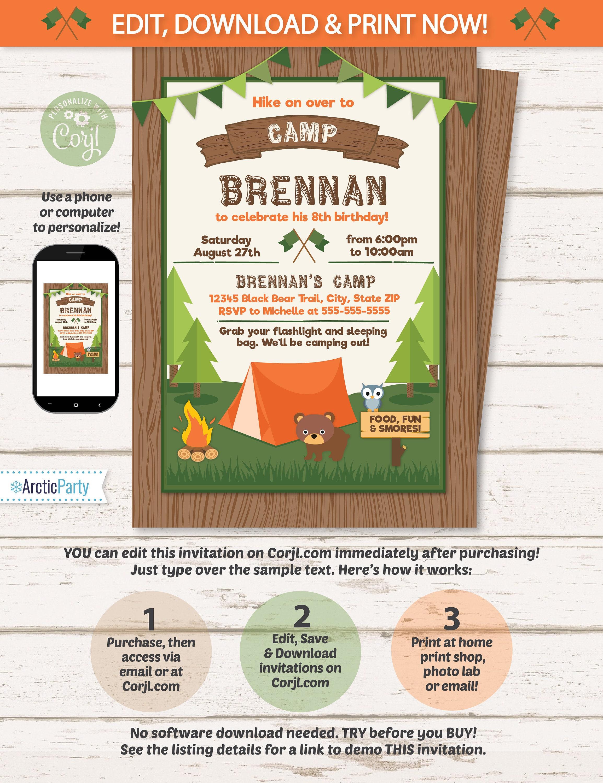 camping party invitations camping invitations camping birthday
