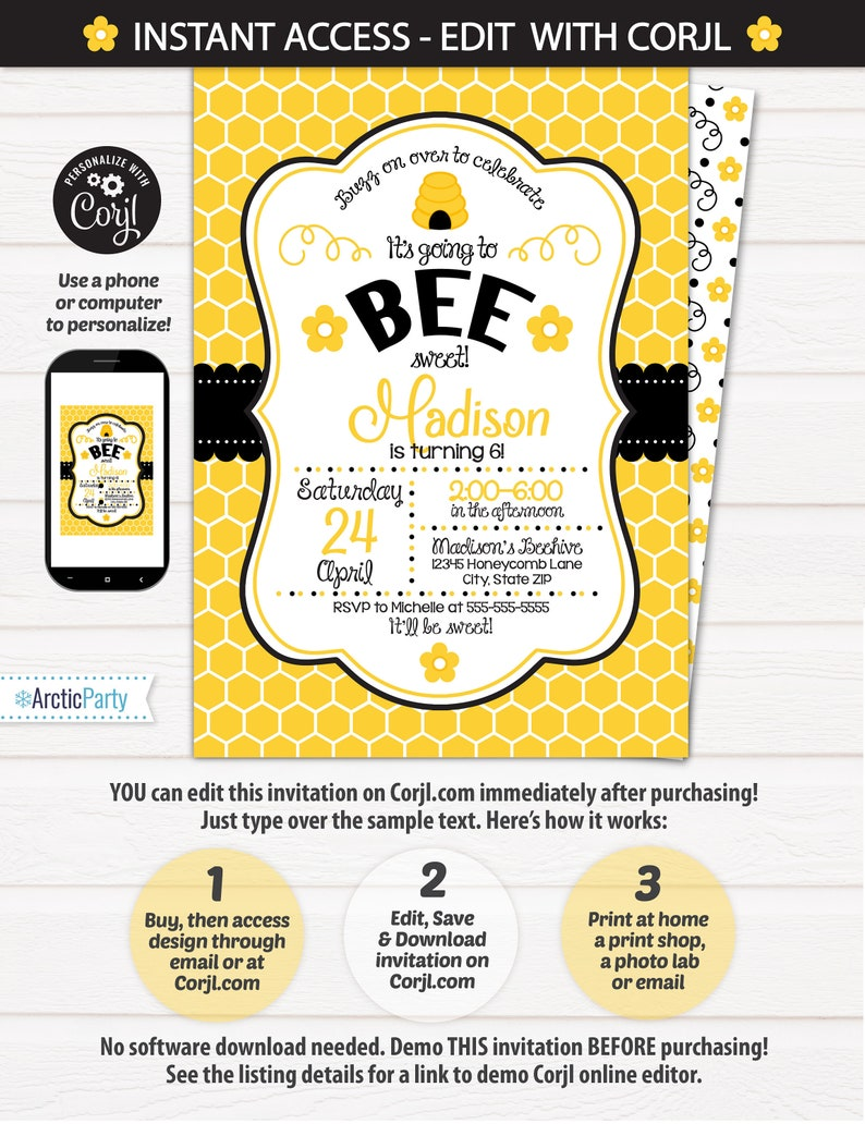 Bumble Bee Birthday Invitations Party Supplies