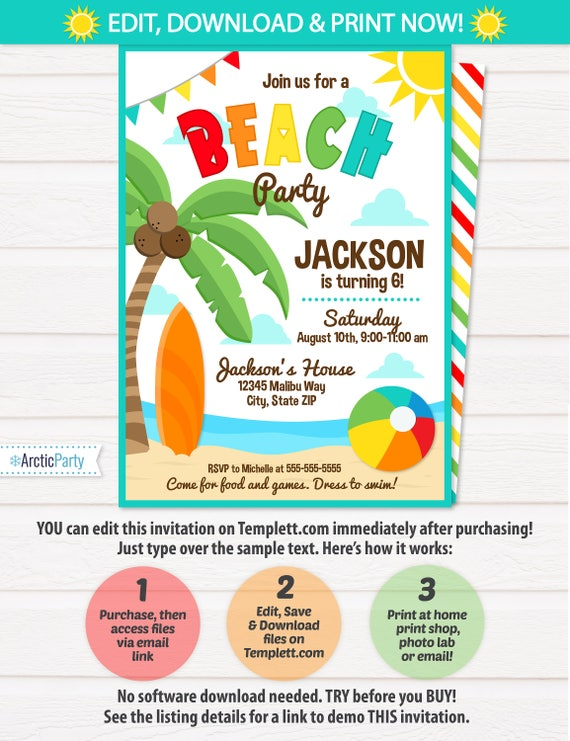 Beach Party Invitations Theme Birthday