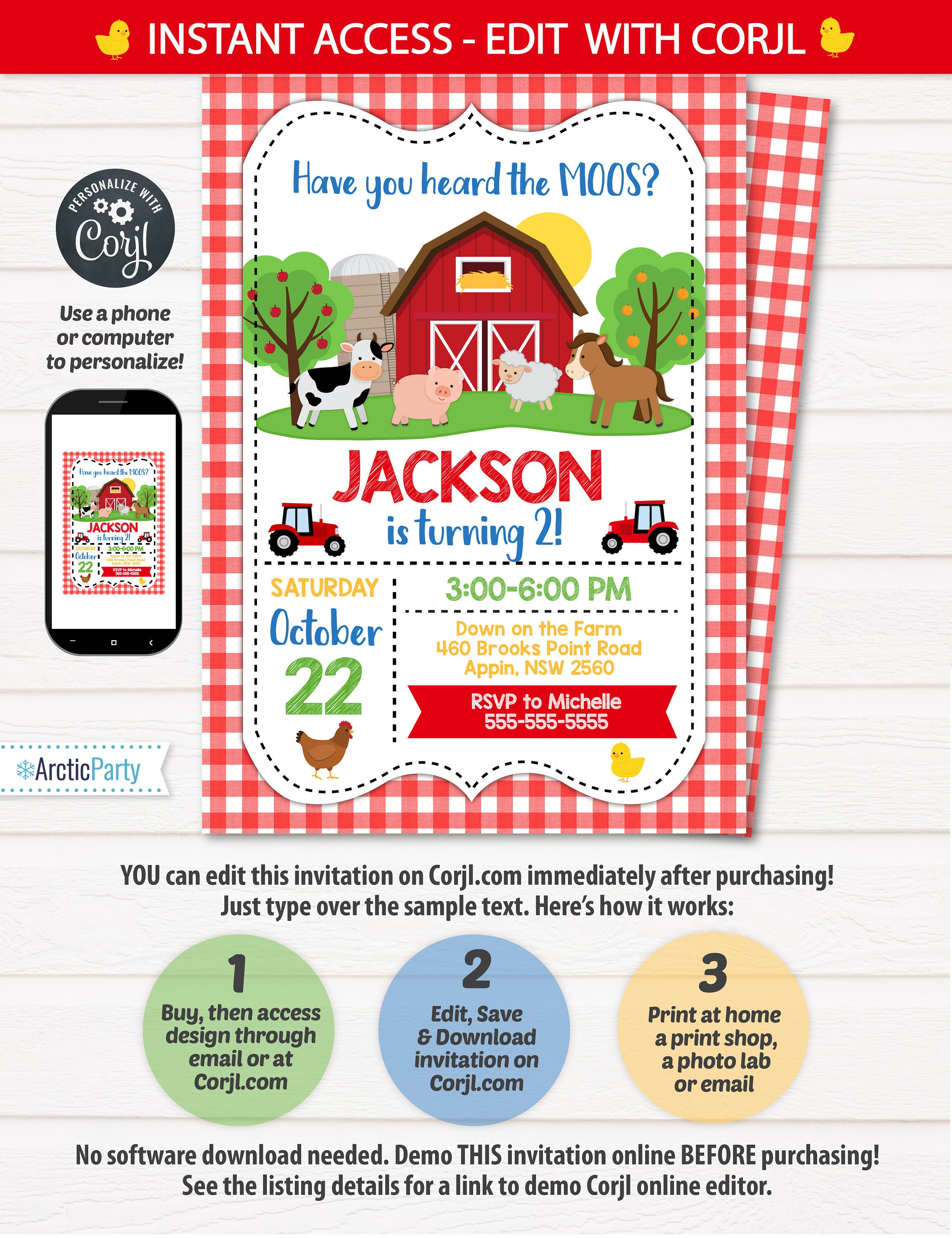Farm Party Invitation Themed Birthday Barnyard
