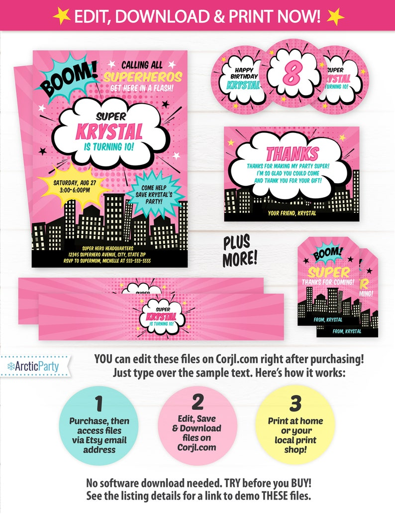 Superhero Invitations Girls Birthday