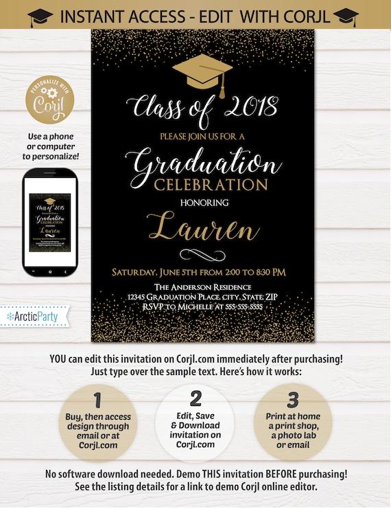 Graduation Invitations - Graduation Party Invite - Gold Graduation Party Supplies - Graduation Photo Invitation - INSTANT ACCESS - Edit NOW!