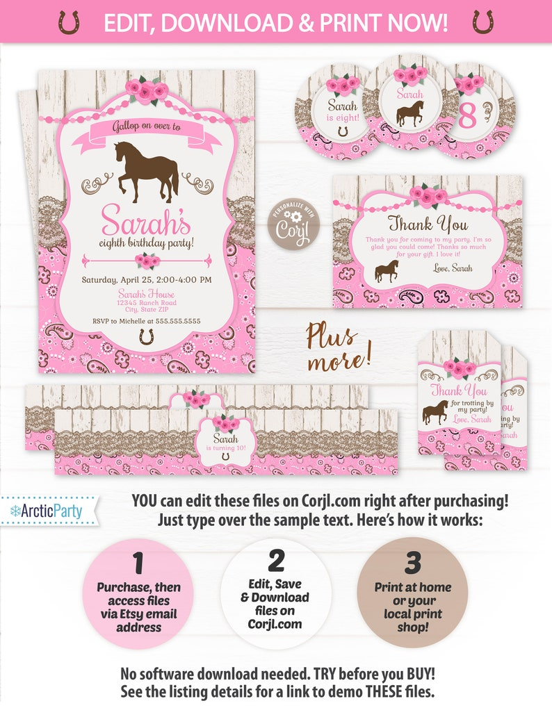 Horse Party Invitations Girls Birthday