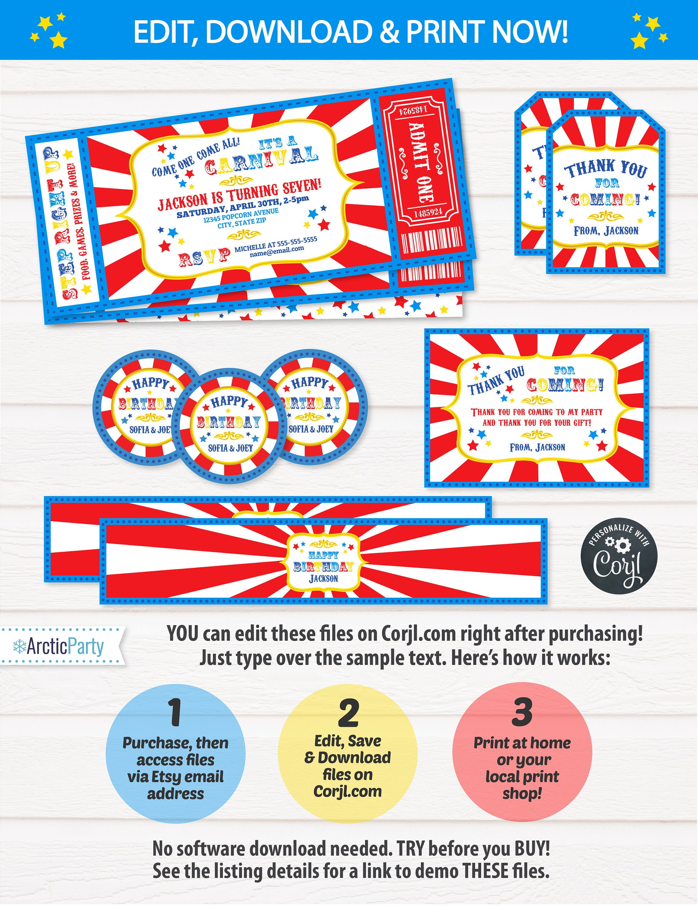 Carnival Birthday Invitations Theme Party Supplies
