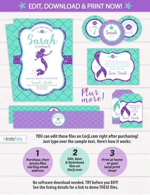Mermaid Invitations - Mermaid Birthday - Mermaid Party Pack - Mermaid Theme - Mermaid Labels - Mermaid Party Decorations - Edit NOW!