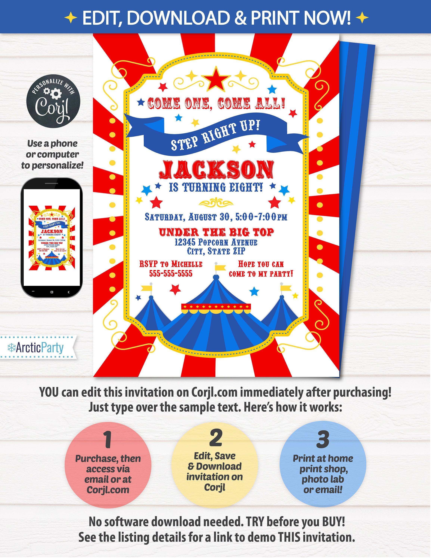 circus invitations carnival birthday invitations carnival themed