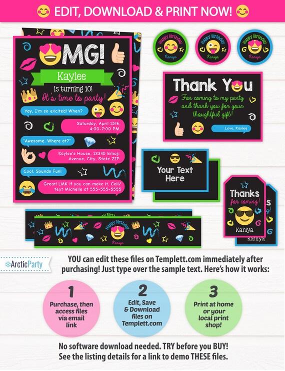 emoji party invitations emoji party supplies emoji party etsy