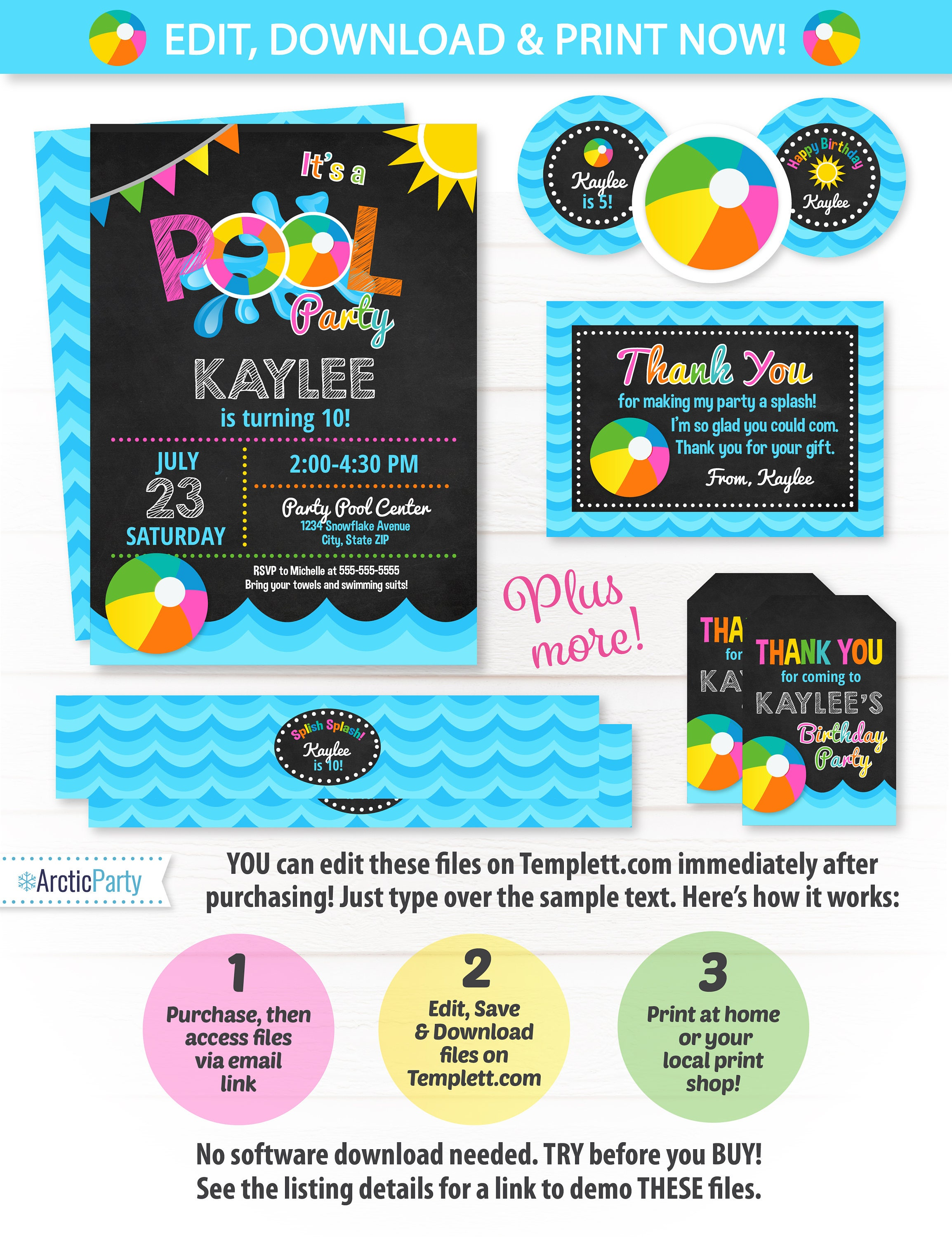 Pool Party Invitations Swim Party Girls Swim Party Pool