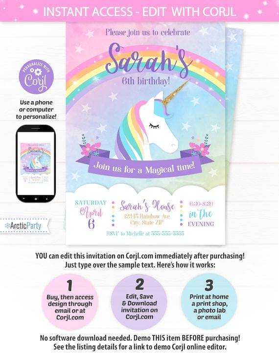 Unicorn Invitations Birthday Invitation