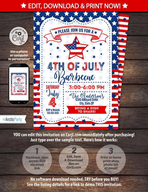 4th of July Invitations - 4th of July Barbecue - 4th of July Party - 4th of July Invitation - INSTANT ACCESS to files! Edit with Corjl NOW