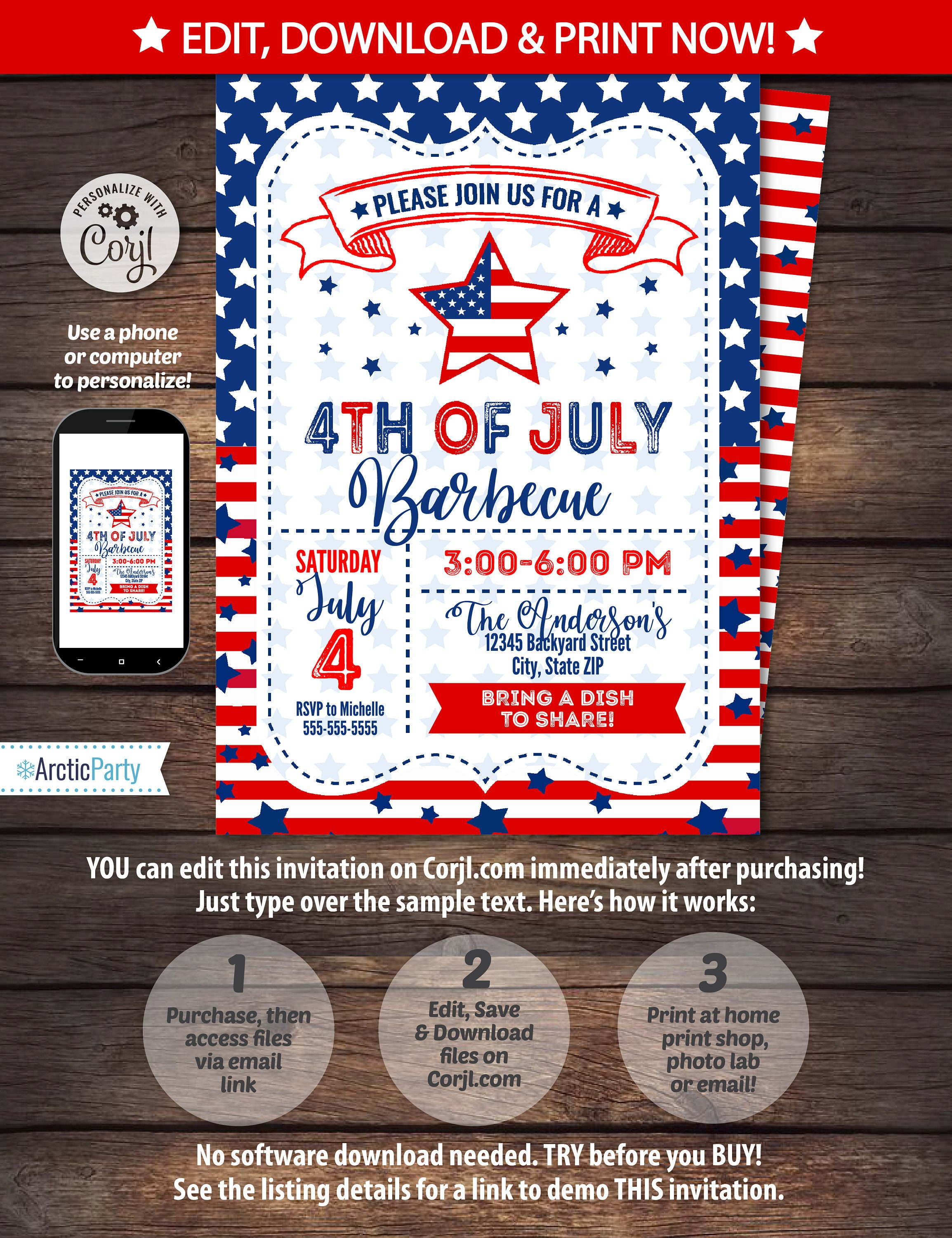 4th of July Invitations - 4th of July Barbecue - 4th of July Party ...
