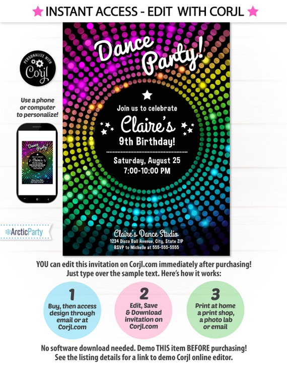 dance party invitation - Isken kaptanband co