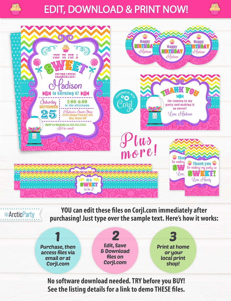 Candy Shop Invitation