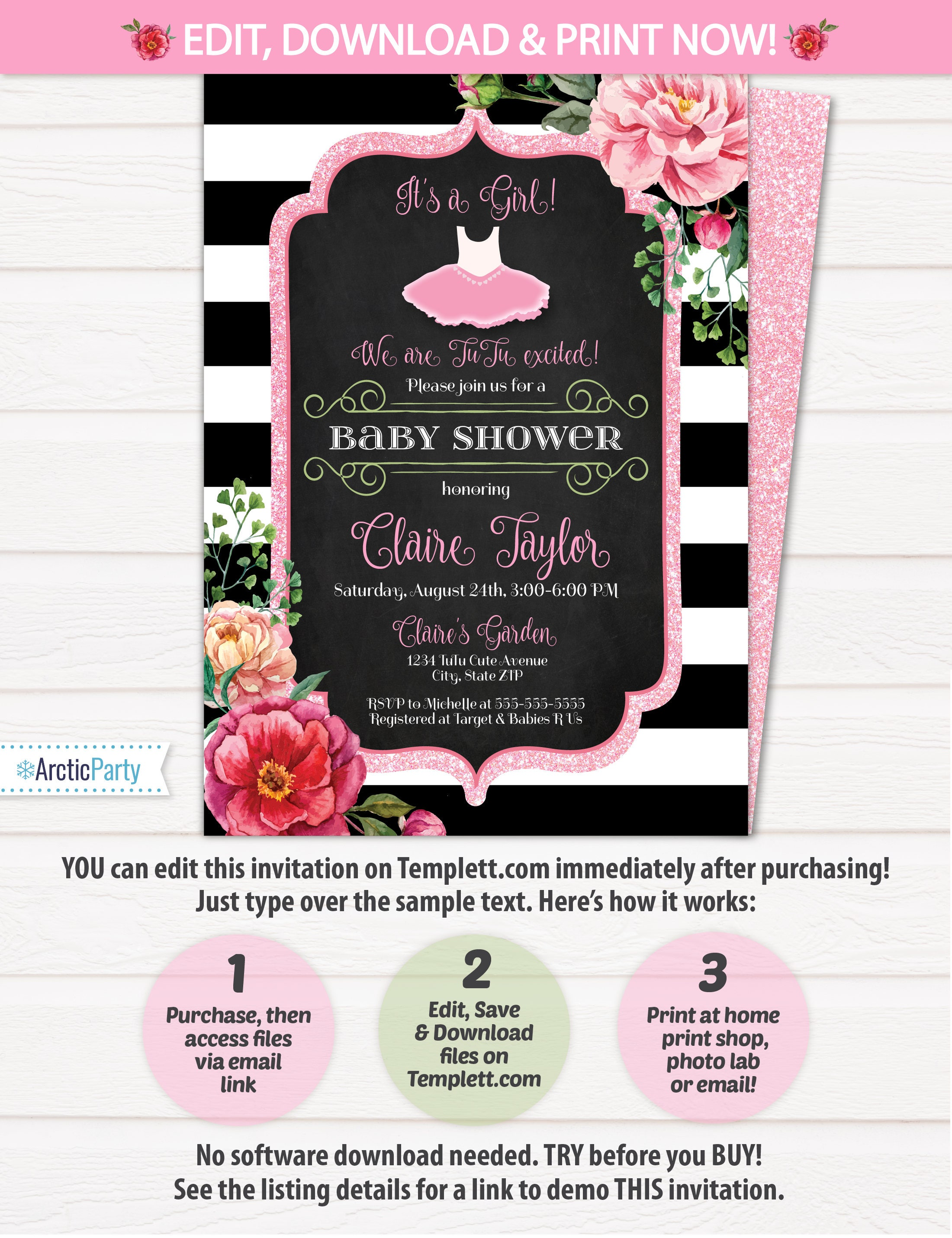 Tutu Baby Shower Invitations Tutu Cute Baby Shower Invitations