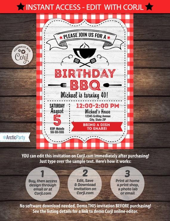 bbq invitations bbq birthday bbq party invitations etsy