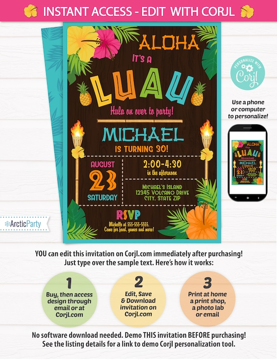 Luau Party Invitations - Luau Birthday Invitations - Adult Luau Invitation - Luau Invitation - Hawaiian Invitation- INSTANT ACCESS- Edit NOW