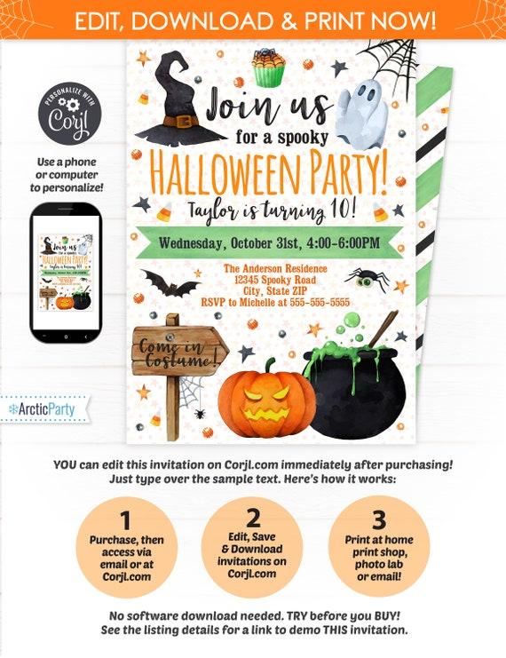 Halloween Party Invitations Birthday