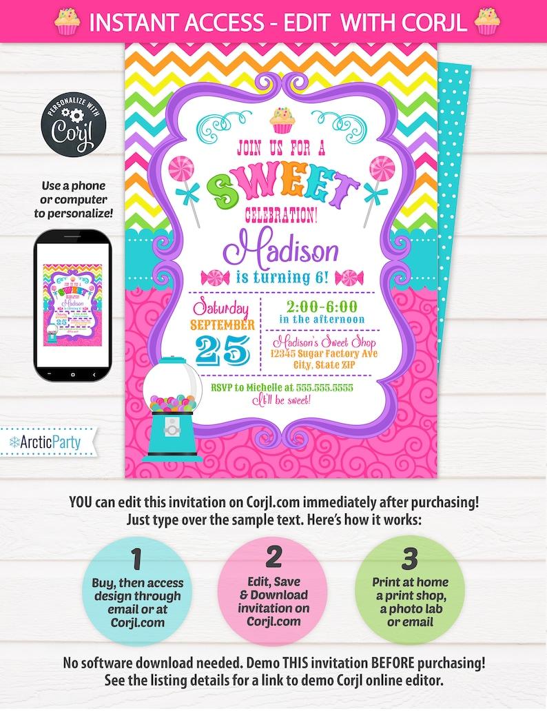 Candy Shop Invitations Birthday Invitation