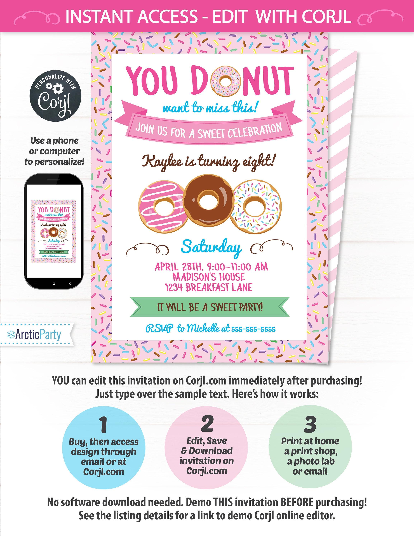 Donut Party Invitations - Donut Themed Party Invitation - Donut ...