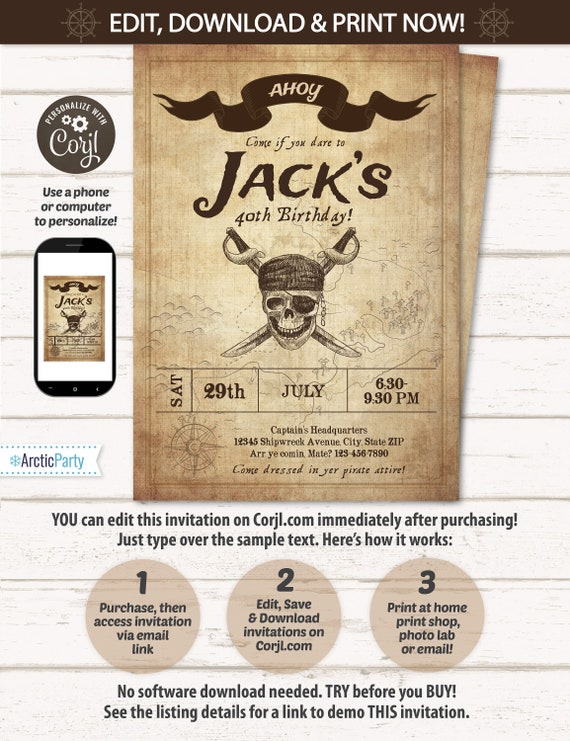 Pirate Invitation - Pirate Map Invitation - Pirate Party Invitations - Adult Pirate Party Invitations - INSTANT Access - EDIT at home NOW!