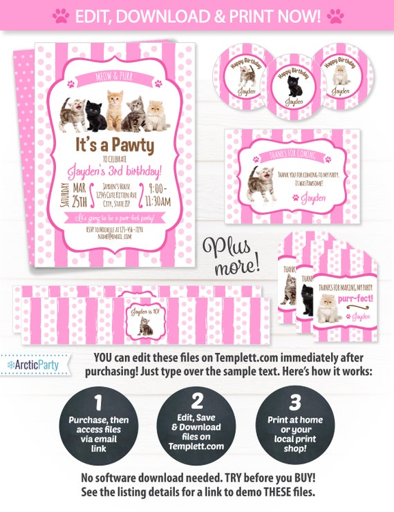 Cat party invitations kitten birthday party invitations cat party supplies kitten party favors cat party ideas cat party decor image 0 filmwisefo