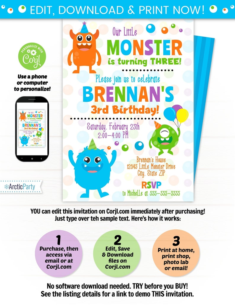 Monster Party Invitation Template