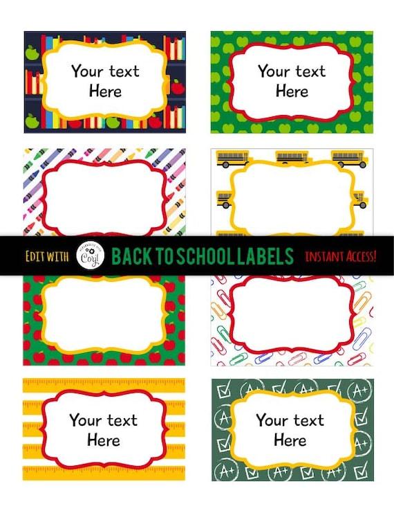 Back to School Labels - Teacher Labels - School Labels - Editable Teacher Labels - Back to School Tags - Instant Access - Edit NOW!