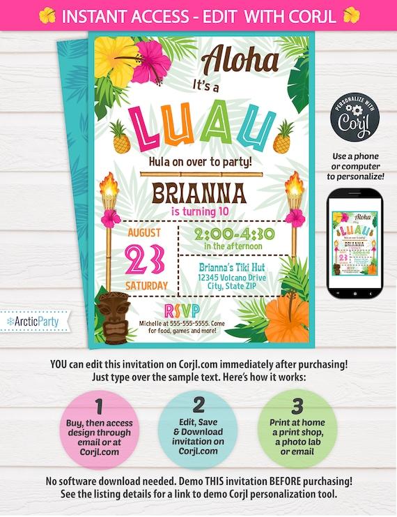 Luau Invitation Luau Birthday Invitations Luau Party Etsy