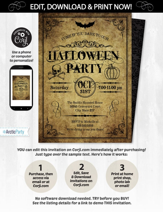 Editable Halloween Invitation