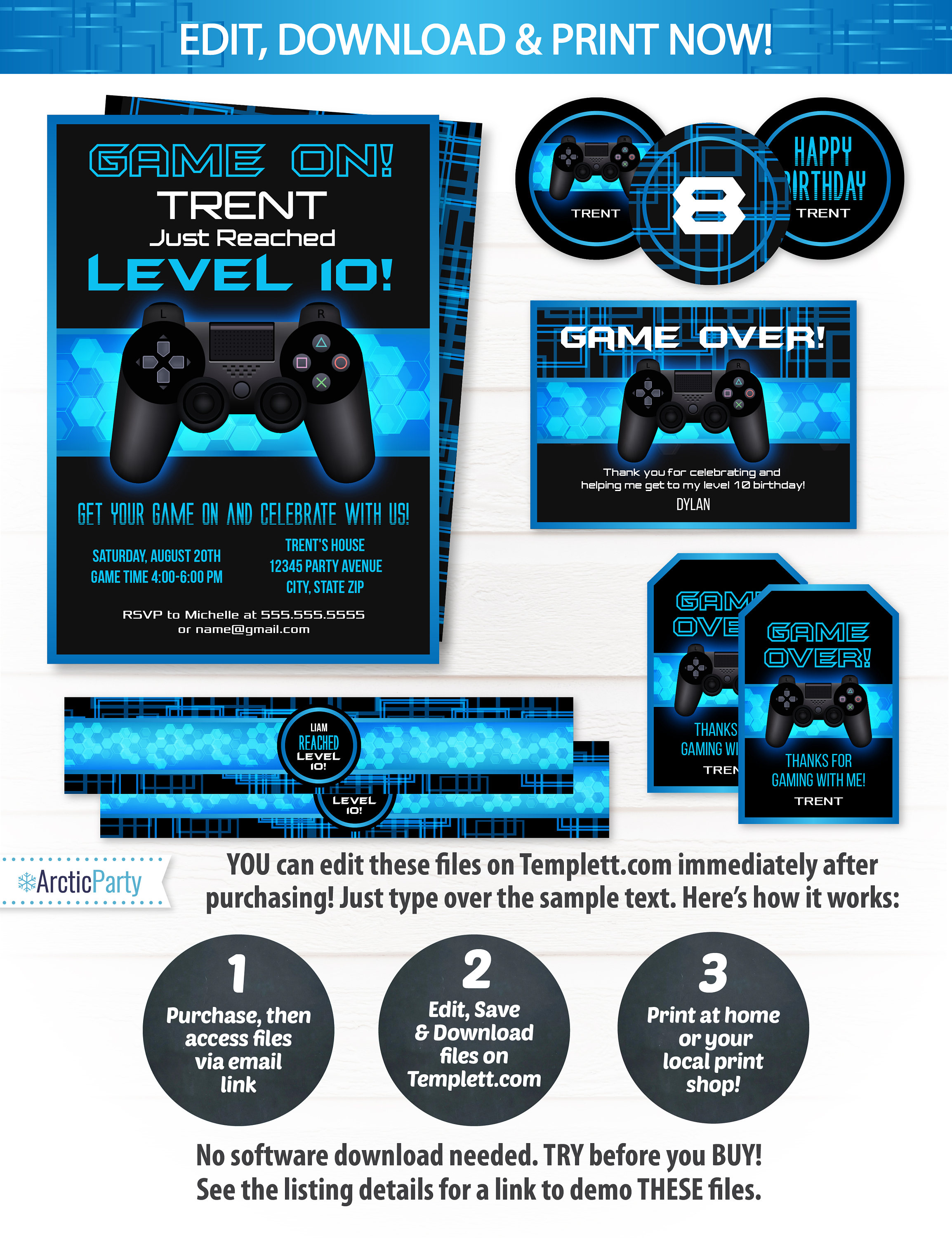 Video game party invitations video game invitations video game video game party invitations video game invitations video game party supplies video game partyfavors instant access edit now stopboris Image collections