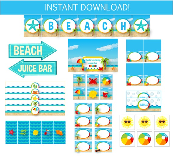 25% Off!!!!!!!!!!!!! Pool Party Pack - Beach Party Printables - Instantly Downloadable and Editable File - Personalize with Adobe Reader!