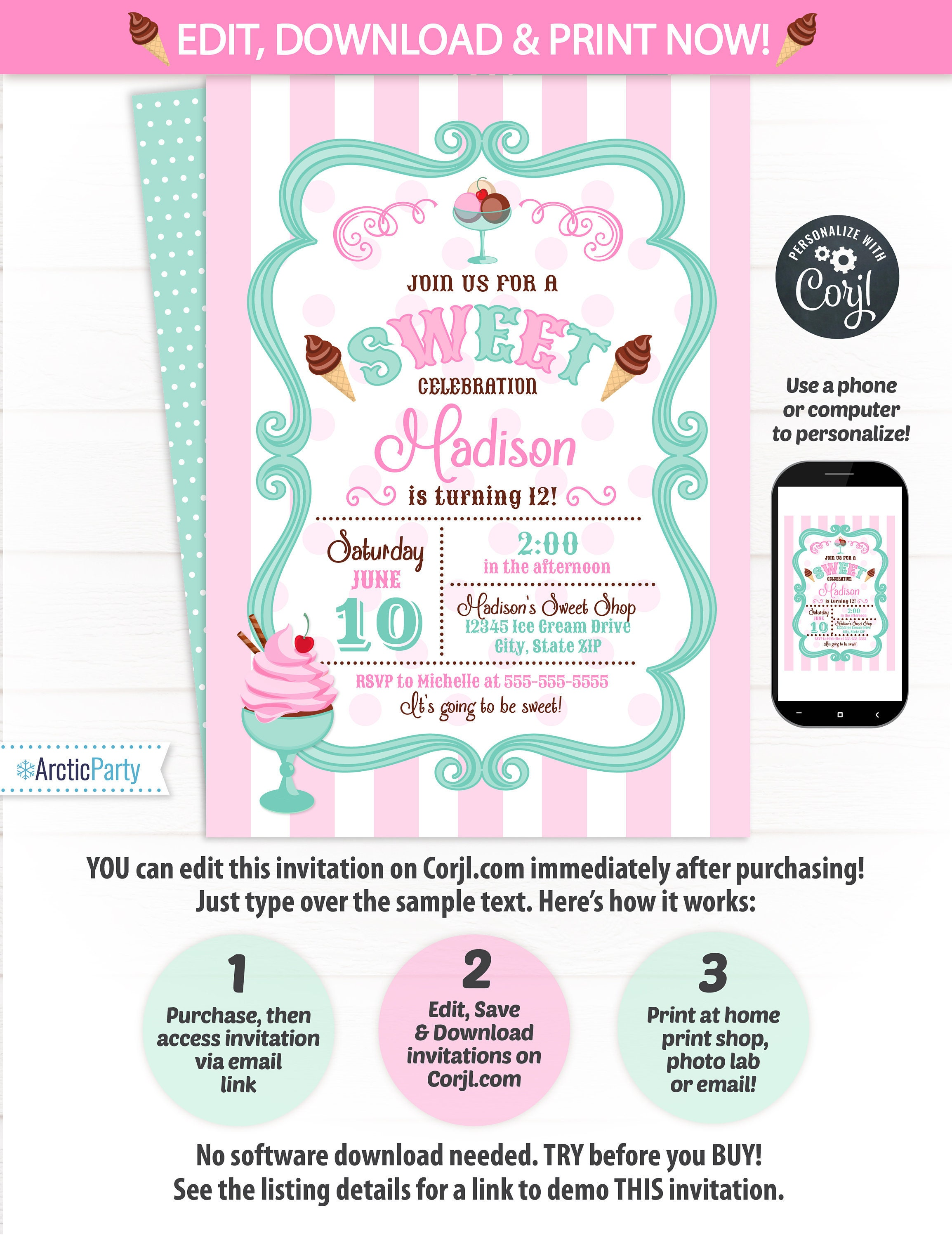 Ice Cream Party Invitations - Ice Cream Invitation - Ice Cream ...