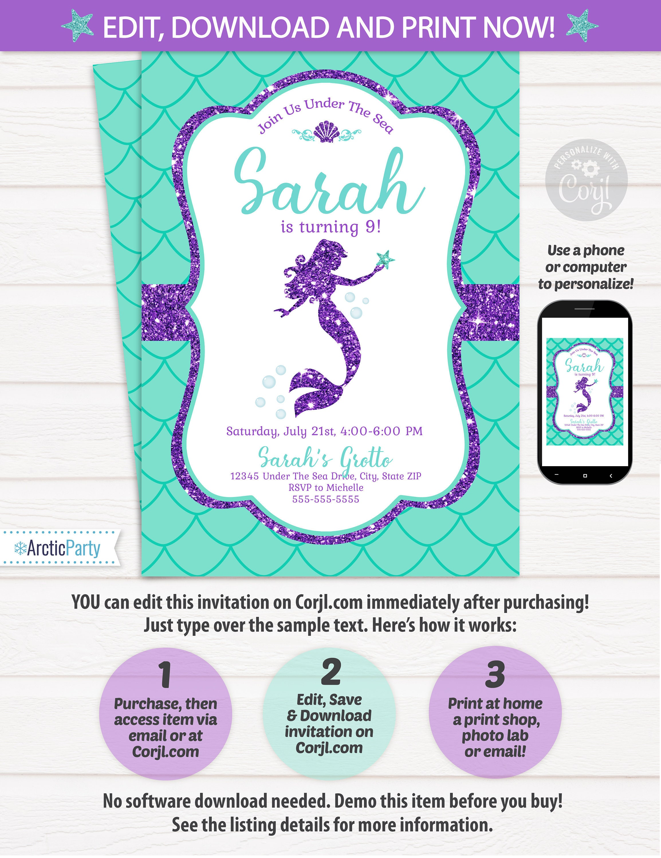 Mermaid Invitations - Mermaid Party Invitation - Mermaid Birthday ...