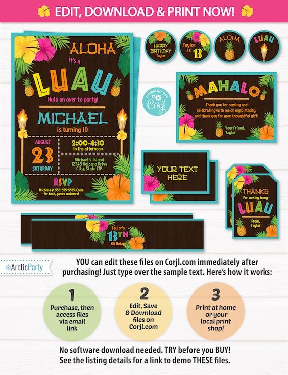 Luau Party Invitations - Luau Birthday - Luau Party Supplies - Luau Invitations - Luau Decor - Adult Luau - INSTANT ACCESS - Edit NOW!