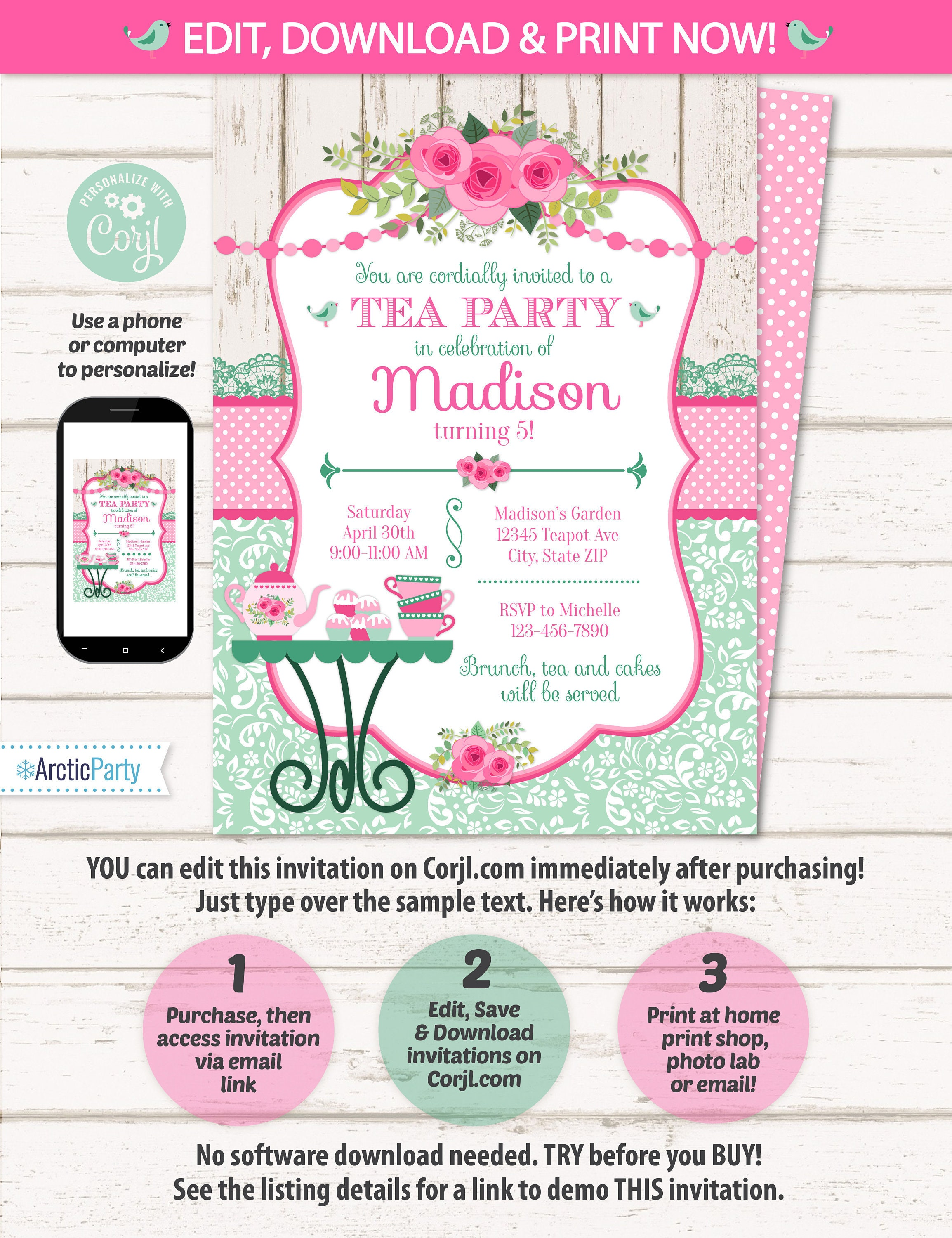 Tea Party Invitation - Tea Party Birthday Invitation - Tea Party ...