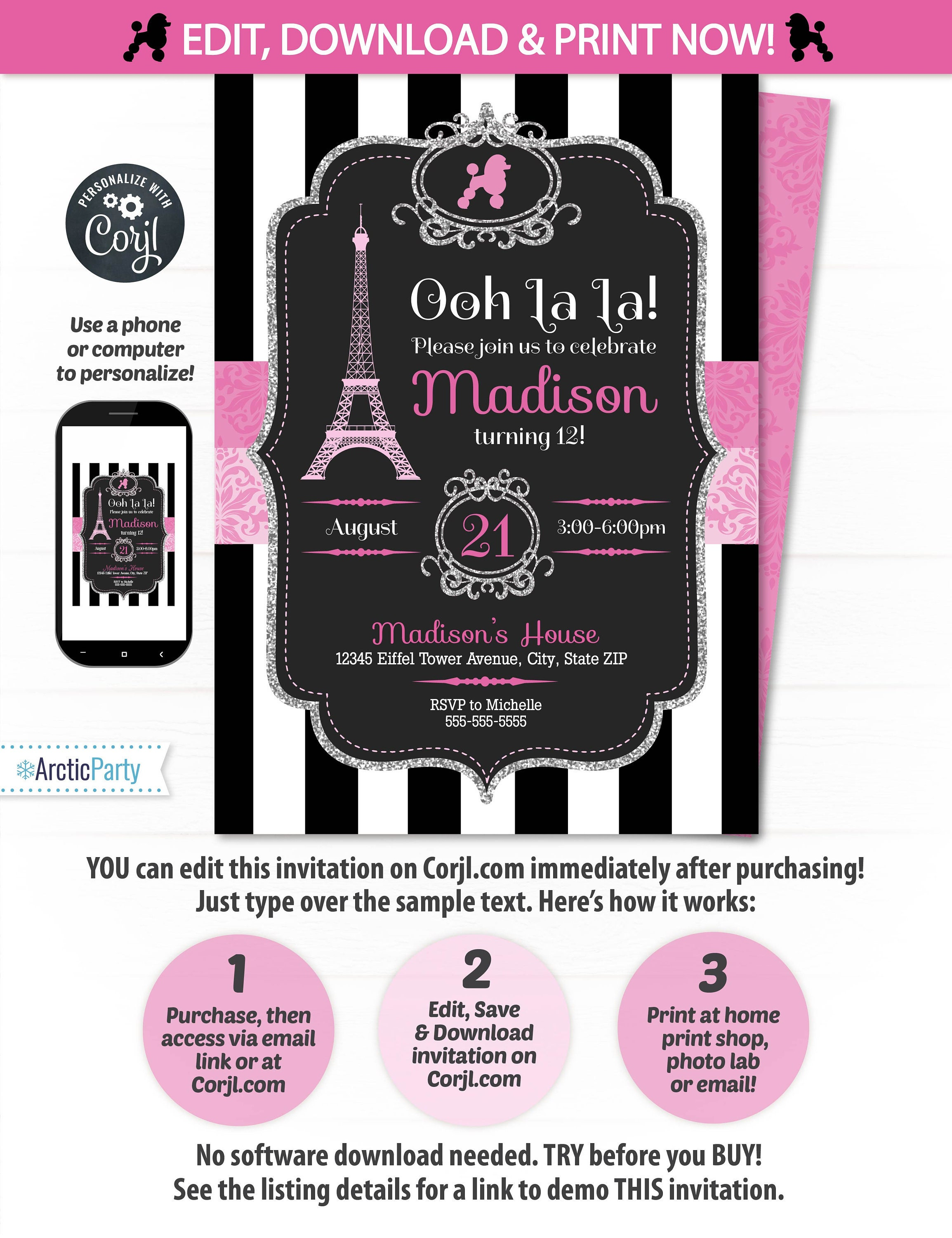 Instant Download Paris Invitation Birthday