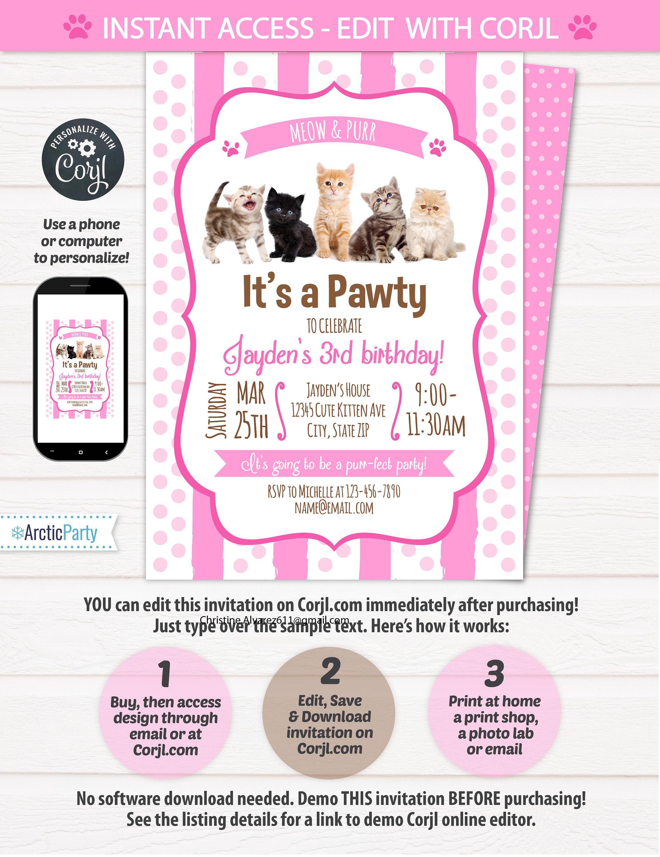 Cat Party Invitations Kitten Party Invitations Cat Birthday