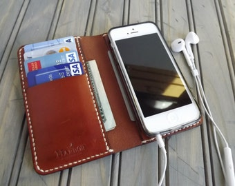 Personalized iPHONE 5/5S Leather Wallet Chestnut English Bridle WICKETT & CRAIG Hand-stitched (Free Monogramming)