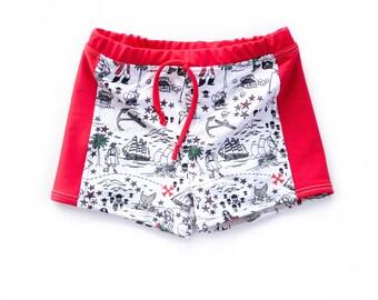 5fed8dc2ad Pirate print swim trunks, treasure map boys swim shorts, swimsuit, euro  trunks, toddler bathing suit, baby swimwear, beachwear, newborn swim