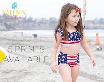 Ruffle Bikini, toddler bikini, baby bikini, kids' swimsuit, girls' swimsuit, child's bathing suit, high-waist bikini, rufle top